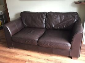 2 x Brown Leather 2 seater Sofas