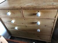 Antique pine solid chest of drawers