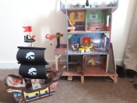 Kidcraft wooden pirate house and ship