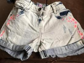 Girls faded denim shorts age 12