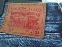 Levi 511 Mens Slim Fit Jeans Waist 34 Inside Leg 34