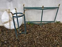 Side table and sideboard in verdigris green and brass