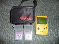 Original Retro Nintendo Game Boy DMG-01 Yellow Games Console Case & 2 Mario Games