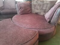 DFS LARGE SWIVEL CUDDLE CHAIR WITH HALF MOON FOOTSTOOL