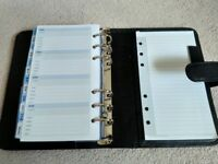 Collins Debden Folio ring binder with inserts, black leather