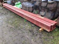 3 Steel RSJ Girders 203x133x25UB (Universal H/I Beams) 5.71m long in red oxide New & unused 25Kg/m