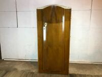 Vintage Mid Century Wood Veneer Wardrobe with Curved Front and Shelves