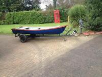 13 ft fiberglass trailer boat oars engine