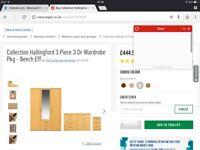 Hallingford 3 Piece 3 door wardrobe set. Wardrobe, chest of drawers, bedside table. Beech