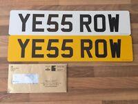 Private Number Plate Registration YE55 ROW (ROW, ROWLAND, ROWING, ROWAN etc)