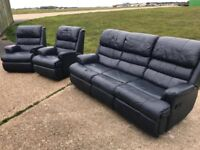 Navy leather recliner sofa + lazy boy chairs