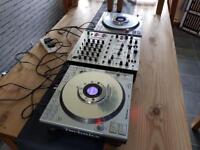 Technics sl-dz1200's + behringer djx700 professional dj mixer