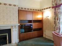 Danish teak display cabinet with cupboards, glazed unit, pull down desk, open shelving