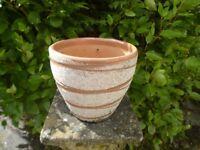 Unusual Mottled Brown Ceramic Garden Pot 19cm Tall