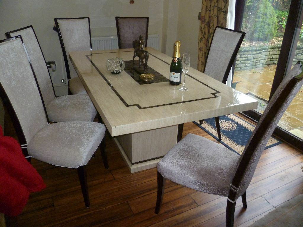 Used Twice Cream Marble Dining Table And 6 Chairstwo Chocolate 2 Not