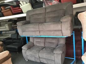 New/Ex Display Kinman Grey 3 Seater Electric Recliner + 2 Seater Recliner Sofa