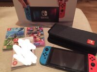 Nintendo Switch + games and case