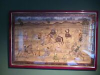 Indian Tiger Hunt Painting on Silk Fabric