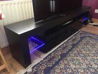 New black large tv cabinet, space saving 200 cm long