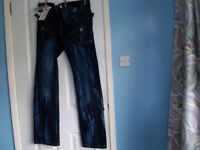 Brand New With Tags Peviani Mens Jeans Size 32 inch waist Streaked Effect