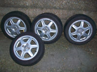 VW Golf 4x100 pcd genuine BBS Solitudes with 4 good tyres , 15 inch , cabby caddy cabriolet