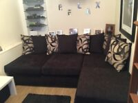 black chenille double sofa bed with Storage stool