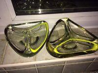 Very Rare matching Pair of Murano cased glass ashtrays vintage retro