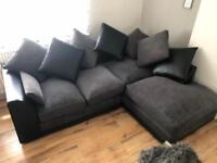 Gorgeous Black & Grey Corner Sofa