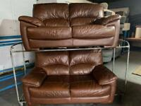 HARVEYS REAL LEATHER SOFA SET IN EXCELLENT CONDITION