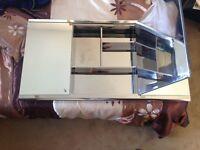 Stainless steel triple mirror door wall cabinet 120cm x 65cm