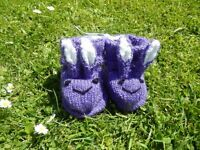 Baby bootees-look like bunnies - new hand made in cat free environment