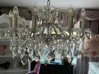 Stunning large 3ft wide glass crystal chandelier