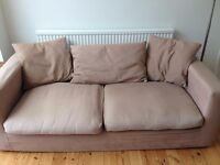 Sofa and armchair, coffee coloured, FREE, collection only