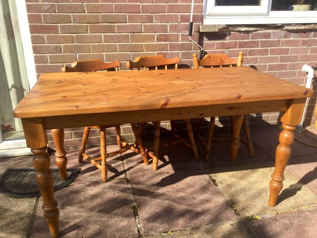 6 seater solid pine dining table £25 well loved and used free chairs