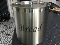 Large metal bread bin with lid