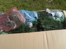 joblot ,christmas decorations, inc 3 x 7ft luxury tree and 1 big box of baubles