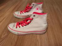 White & Neon Pink Converse.