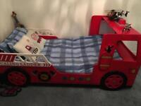 Child's fire engine single bed