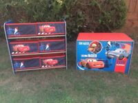CARS TOY BOX AND CANVAS STORAGE SHELVES