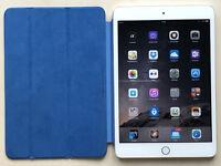 Apple iPad mini Wi-Fi 128GB Silver Model MGP42ll/A with blue Apple Smart cover