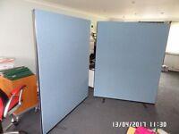 2 No Office Screens 1.460 w x 1.800 h Woolmix fabric light blue