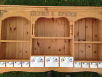 Wooden Herbs & Spices Rack - beautiful china drawers. Absolute BARGAIN!