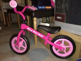 Girls pink balance bike