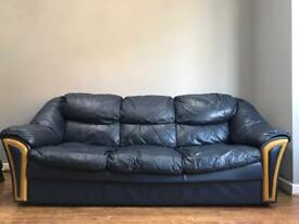 Navy Blue 3 Seater Leather Sofa (Used)