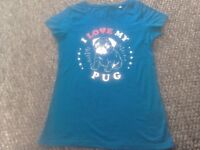 """Pug t shirt. Blue. Size small. 34"""" chest."""