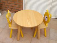 John Crane Wooden Table and Teddy Bear Chairs