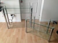 Glass TV stand and glass shelving unit