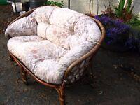 2 seater sofa, conservatory outdoor sofa, garden sofa, wicker, cane