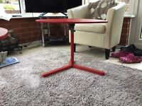 Red plastic tables