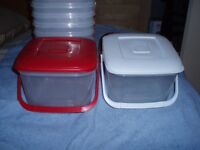 10 storage tubs with handles, 5 x red lids & 5 x white lids